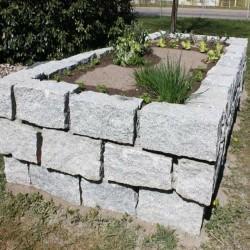 Granit-Blockstufen Griys Hellgrau 15 x 35 cm 250 cm lang