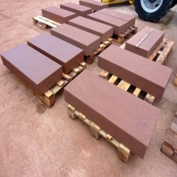 Sandstein Blockstufen Mapula Rot 20 x 35 cm 100 cm lang