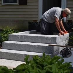 Granit Blockstufen Tiago Hellgelb 15 x 45 cm Gestrahlt